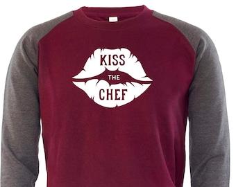 Kiss The Chef Mens Sweatshirt Jumper Funny Novelty Foodie Chef Baking Slogan