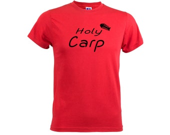 Holy Carp Men's TShirt All Sizes Funny Joke Fishing Shirt Fishermans Top Gift