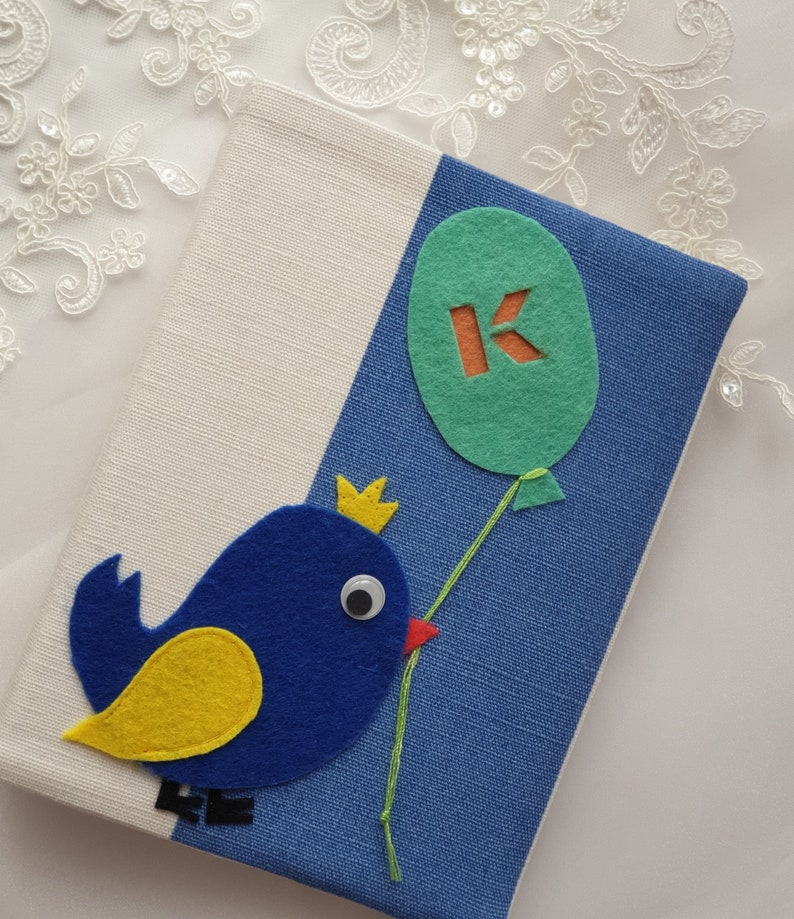 letter Gift 36 photos Travel mini album Baby boy book album with sleeves Natural linen cover with applique Photo album personalized 4x6