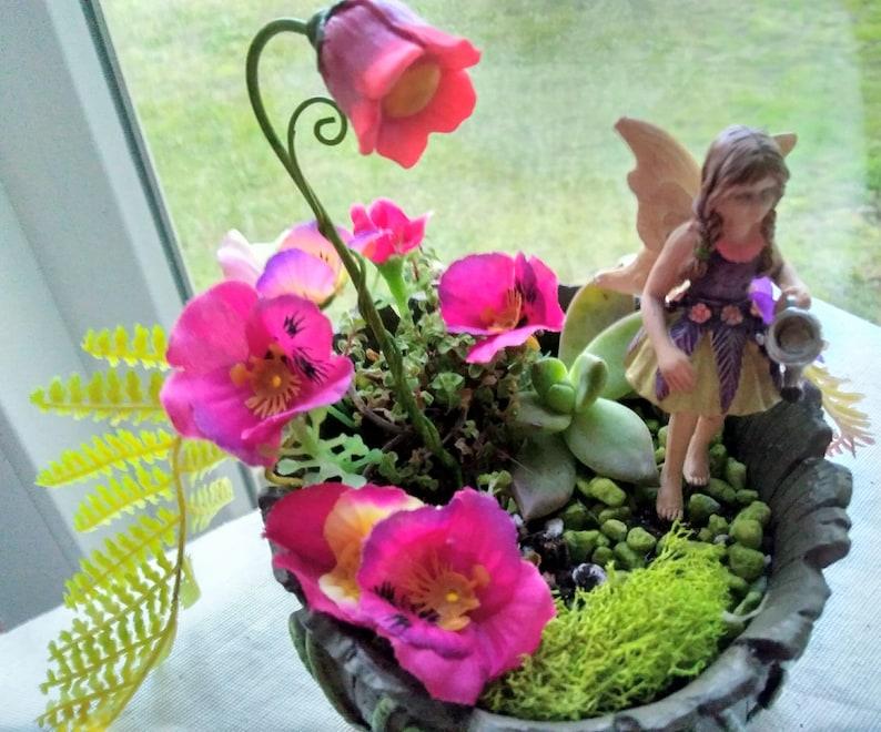 Woodland Teacup Planter With Red Fairy Door Fairy Garden