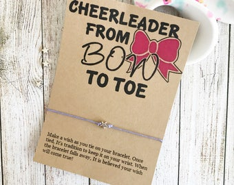 From Bow To Toe, Cheer Team Gift, Cheer Party Favors, Cheerleading Gift, Custom Cheer Gift, Wish Bracelet, Back To School