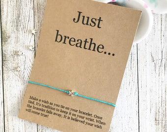 Yoga Wish Bracelet ,Inspiration Bracelet, Motivation Bracelet, Wish Bracelet, Yoga Party Favors, Wish Bracelet Party Favor, Just Breath