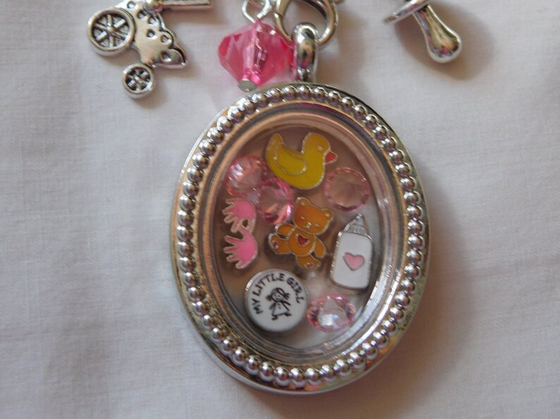 Great Gift ~ It/'s a Girl Darling Memory Locket with Chain ~ Locket ~ Dangles /& Charms that will fit Origmai Owl Lockets!~