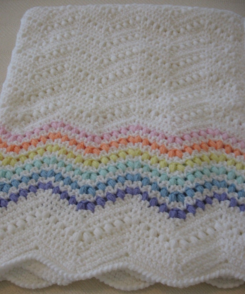 Gorgeous /& Unique ~ Ready to Ship! Rainbow Baby Afghan made in a Crocheted Cluster Stitch  ~ Beautiful Rope Edging ~ Absolutely Exquisite
