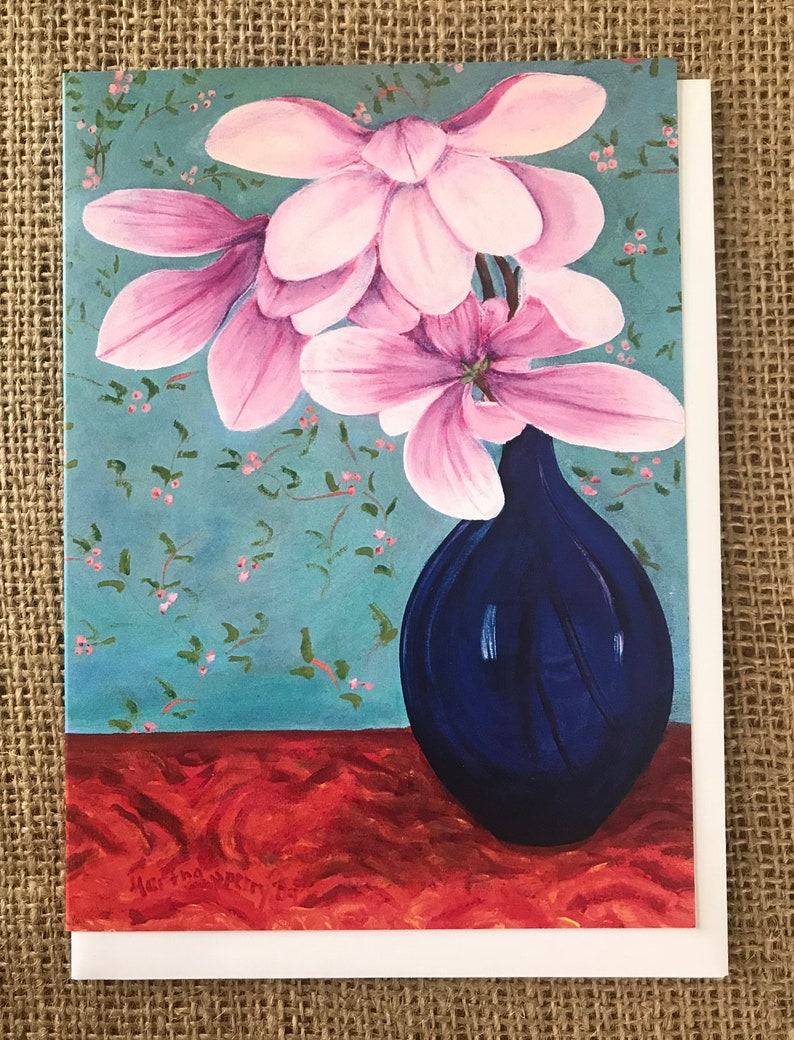 Magnolias Greeting Card Art Print 5x7 Framable Artwork Flower image 0