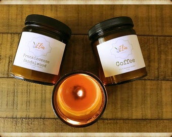 Pure Beeswax Candle Gift Set of 3 -9oz ~ 100% Beeswax Scented Candle  ~Hand Poured ~ Amber Glass ~ Birthday Gift Set ~ Father's Day Gift Set
