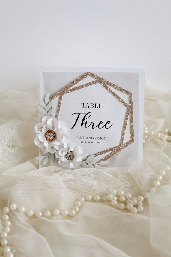 Rose Gold Wedding Table Numbers Hexagonal Theme Geometric Wedding Personalised Table Names Hexagon Marble Wedding Decorations
