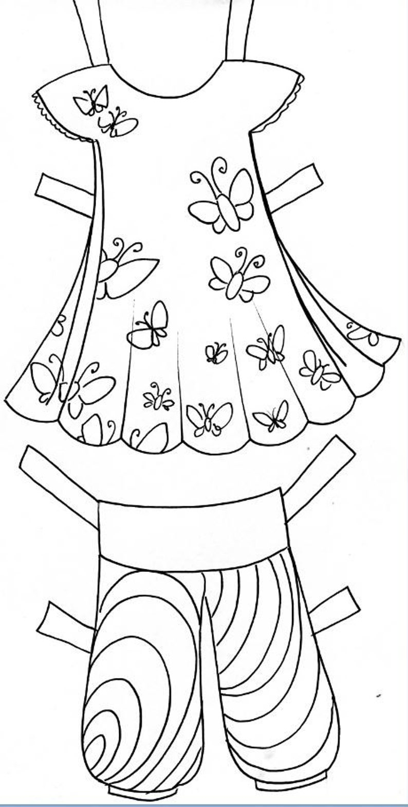 Coloring pages Paper doll for kids with Down | Etsy
