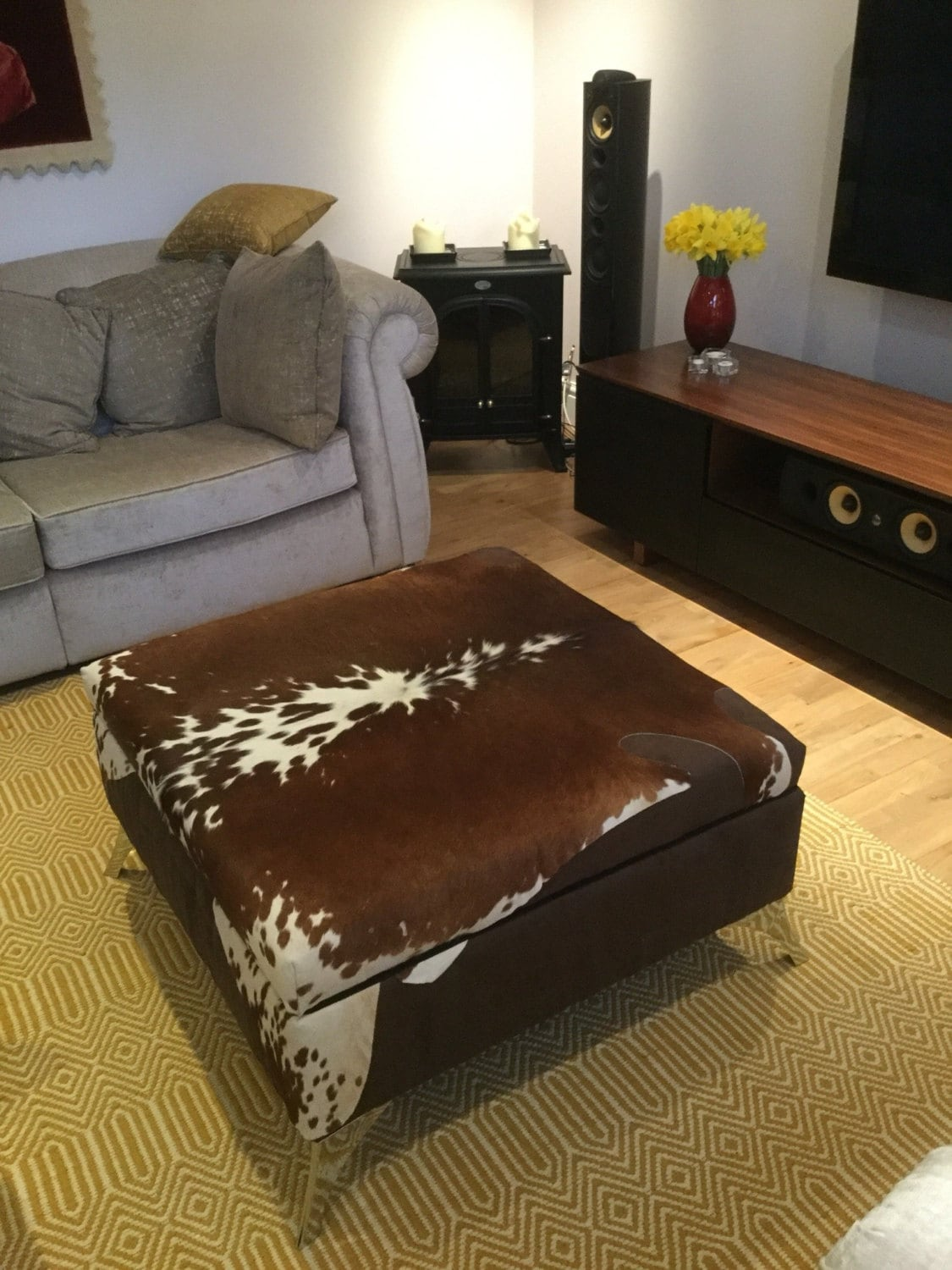 extra large cowhide footstool ottoman coffee table with etsy. Black Bedroom Furniture Sets. Home Design Ideas