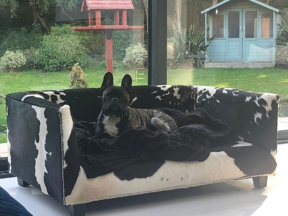 Extra Large Genuine Cowhide Covered Dog Bed with 4\