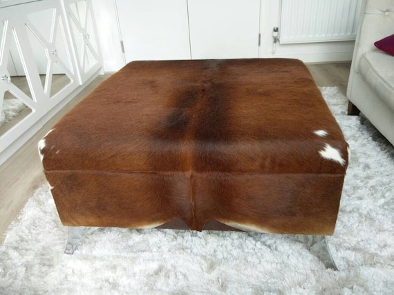 Storage Cowhide Footstool Coffee Table Ottoman With Hinged Lid And Extra Large Storage Area