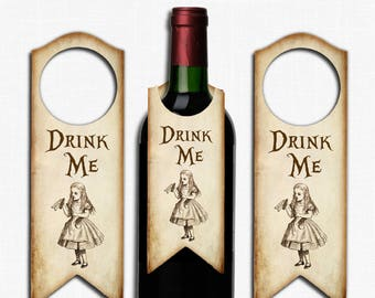 Alice in Wonderland Bottle Label Tags ,Wedding, Tea Party, Birthday, Wine Bottle, Bottle,Gift Tag, Drink Me, Bottle Tags, Wonderland