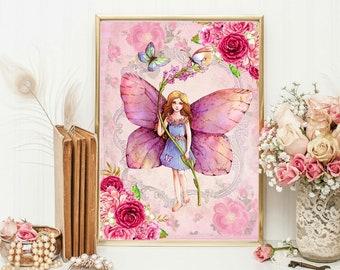 Flower fairy etsy flower fairies wall art print fairy nursery shabby chic fairy picture girls vintage fairy print mightylinksfo