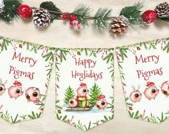 Retro Christmas Bunting Santa Claus Snowmen Candy Canes Seasons Greetings Christmas Banner Garland Holiday Decoration XMAS