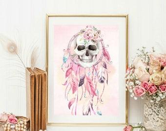 Pink skull art etsy dream catcher skull wall art print pink unframed gift home flower skull boho feathers mightylinksfo