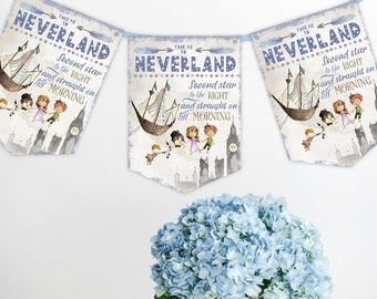 Peter Pan Bunting Banner Take Me To Neverland Party Kids Birthday Decorations Garland Shower