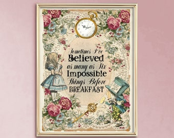 Alice In Wonderland Quote Poster Print Wall Art Gift Mental Health UNFRAMED