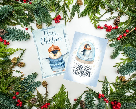Christmas Toppers For Card Making.Christmas Penguin Card Toppers Xmas Cards Cardmaking Greeting Cards Atc Tags Penguins Diy Cards Merry Christmas Tags