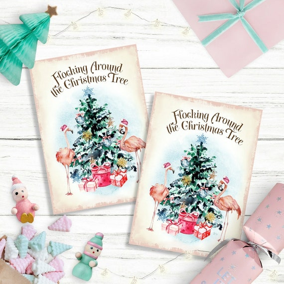 Christmas Toppers For Card Making.Flamingo Christmas Card Making Toppers Xmas Greeting Cards Gift Tags Scrapbook Atc Journals Kids Craft