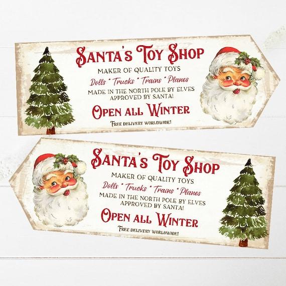 Christmas Arrow Signs.Retro Christmas Arrow Signs Santa S Toy Shop Arrows Decoration Holiday Decor Kids Toy Sign Christmas Kids Toy Signs