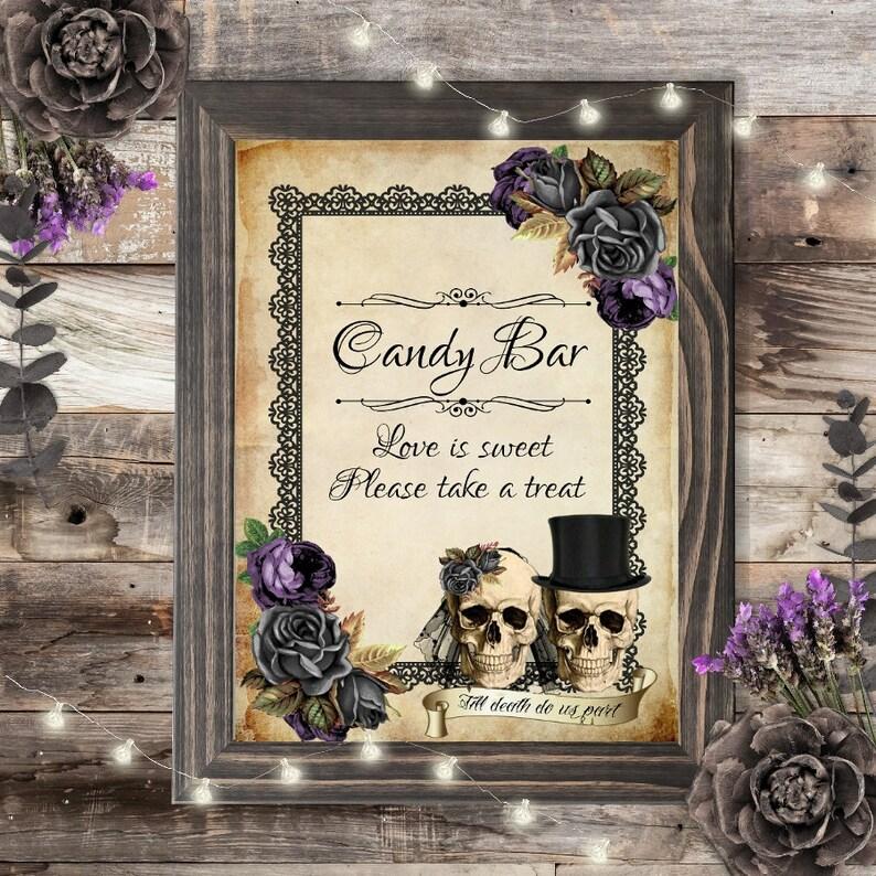 Wedding Candy Bar.Skull Wedding Candy Bar Sign Wedding Gothic Wedding Skull Bride Groom Dessert Table Sweet Bar Candy Table Candy Buffet Black Roses