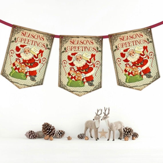 Vintage Christmas Bunting, Santa Banner, Retro Christmas, Party Decoration, Retro Santa, Banner, Garland, Holiday