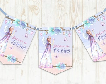 Fairy Banner - Purple -  Bunting - Girls Birthday Party, enchanted Party Decorations -Flower Fairies,