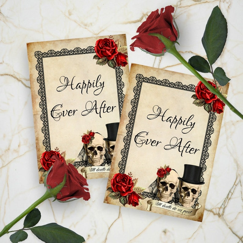 Skull Wedding Card Toppers Tags Favors Cardmaking Gift Etsy