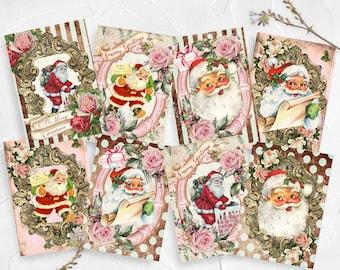 Vintage Christmas Card Toppers, Retro Xmas, Cardmaking, Pastel Christmas, Pink XMAS, Greeting Cards,  Santa, Father Christmas, ATC Tags