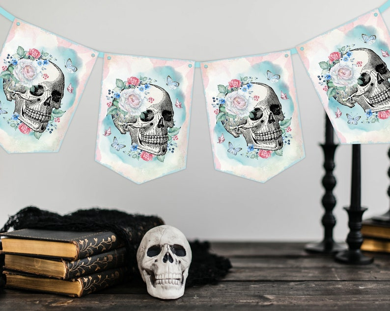 Floral Skull Banner Halloween Flowers Sugar Skulls Decor Goth Skull Kids Party Decorations Roses Gothic