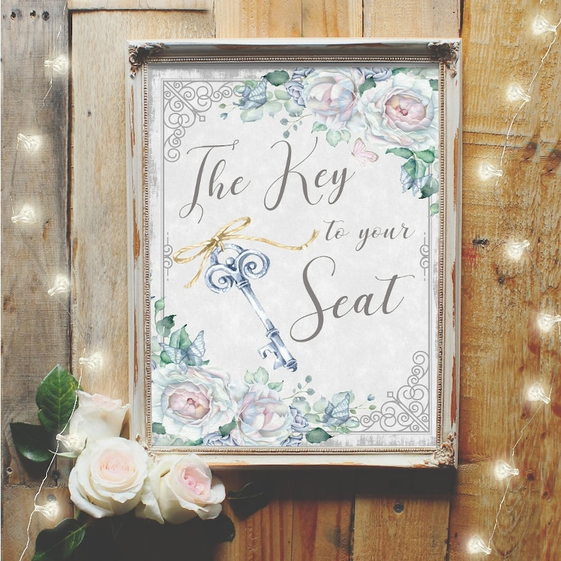 Place Cards Sign Wedding Reception Sign Vintage Floral Key To Your Seat Sign