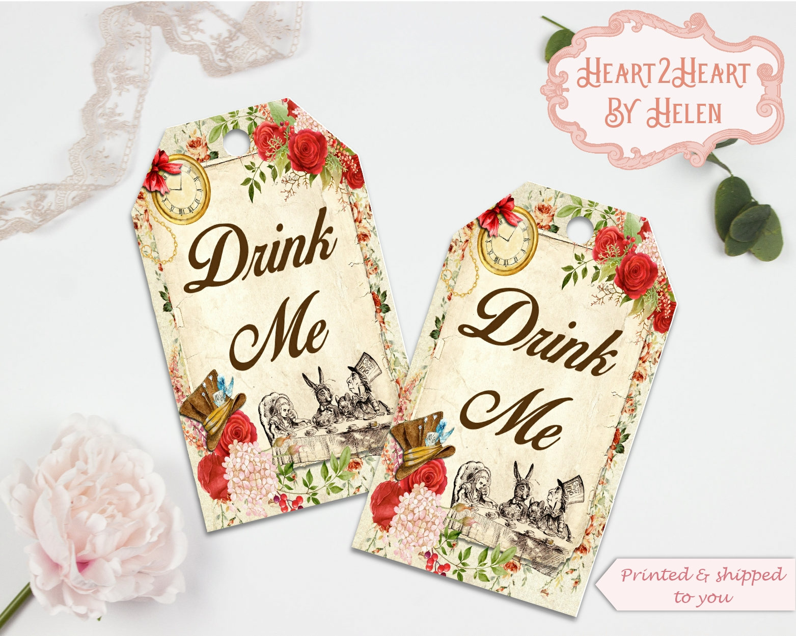 10 Alice in Wonderland Drink Me Gift Tags | Tea Party Tags ...
