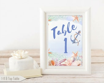 Nautical Table Number Cards, Under the Sea, Wedding Table Numbers, Reception Cards, Anchor Cards, Nautical Wedding Decoration, Table Cards