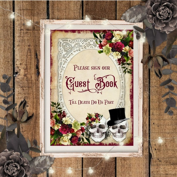 Wedding Supplies Bundle Of 6 Skull Wedding Signs Guest Book