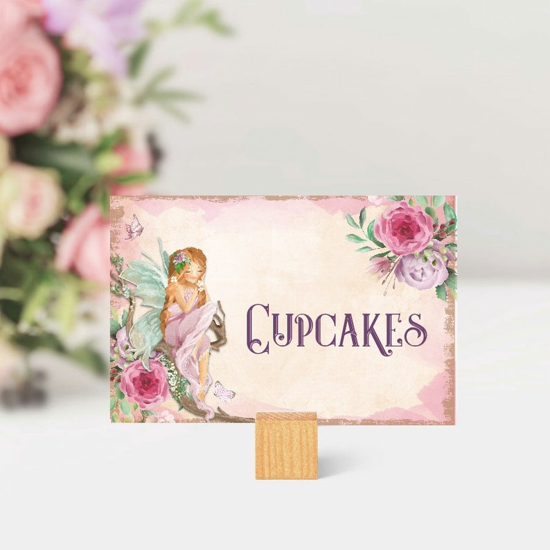 Fairy Blank Cards, Enchanted Fairy Party Decorations, Flower Fairies,  Christening, Notecard, Birthday, Kids, Fairy Food Labels, Name Cards