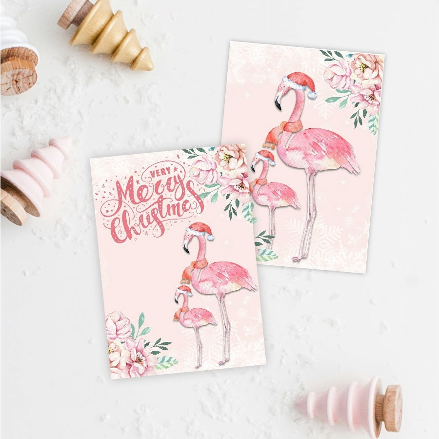 Flamingo Christmas Card Toppers Xmas Cardmaking Greeting | Etsy