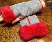 Harris Tweed Fingerless mitts with Rabbit Fur Trim