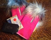 Harris Tweed Fingerless mitts with Faux Fur Trim