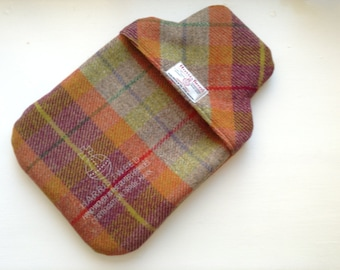Harris Tweed 2 litre Orange & Red check thermal lined Hot Water Bottle Cover