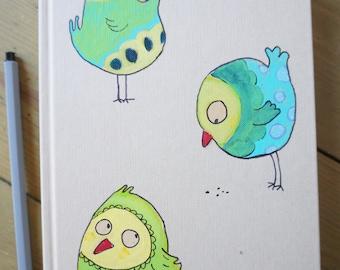 Diary, sketchbook, scrapbook, notebook, handmade, acrylic paint, birds