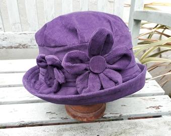Plum purple homegrown flower cloche hat