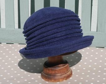 Navy blue fleece home grown  cloche hat
