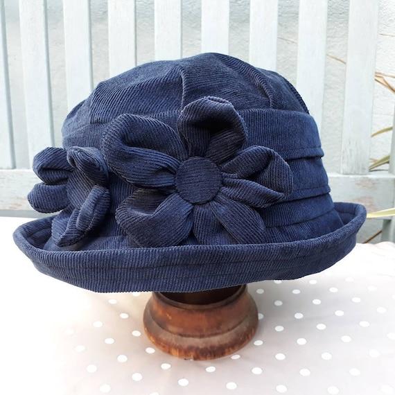 Navy cloche hat navy blue cloche hat blue winter hat blue  d2348f5d658