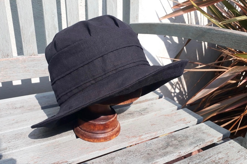 1be84322b black linen big brimmed hat, linen floppy sun hat, summer hat, vacation  holiday hat, travel sunhat, hat for shade, gardening hat,