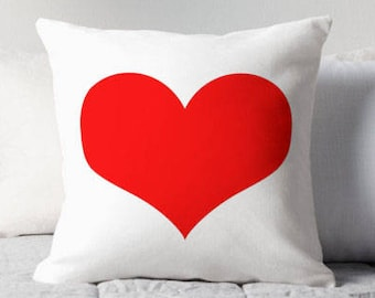 Red Heart Pillow, Red White Heart Pillow, Red Heart Toss Pillow, Red Heart Pillow Case, Red Heart Pillow Cover, Red Heart Throw Pillow, Red