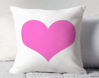 Pink Heart Pillow, Pink Decorative Pillow, Pink Heart Print, Pink Throw Pillow, Pink and White Pillow, Pink Heart Decor, Pink Heart Pillows