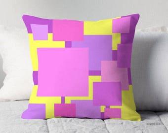 Pink Yellow Color Block Pillow, Pink Yellow Pillow, Pink Yellow Toss Pillow, Pink Yellow Bedding, Pink Yellow Cushion, Pink Yellow Decor
