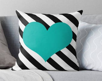 Turquoise Heart Pillow, Heart Stripe Pillow, Heart Pillow Case, Turquoise Heart Stripe, Black White Turquoise Pillow, Turquoise Bedroom