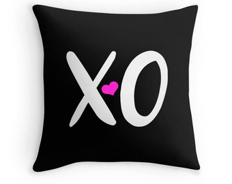 Xo Pillow, Heart Pillow, XO Print, Pink Heart Pillow, Heart Decor, XO Pillow Case, XO Throw Pillow, Pink Heart Pillow Case, Love Pillow