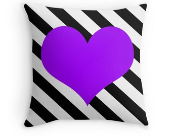 Purple Heart Pillow, Heart Stripe Pillow, Heart Pillow Case, Purple Heart Stripe, Black White Purple Pillow, Purple Bedroom, Purple Bedding